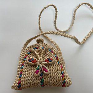 Handmade grass beach butterfly crossbody bag
